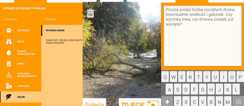 Aplikacja do powiadamiania o wycince drzew