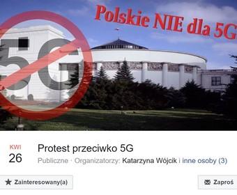 Protest przeciwko 5G w Warszawie
